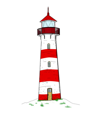 security lights: Colourful lighthouse on white background