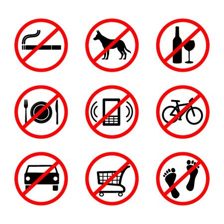 interdiction: Aucun signe, panneaux d'interdiction Illustration