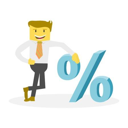 Businessman with percent symbol