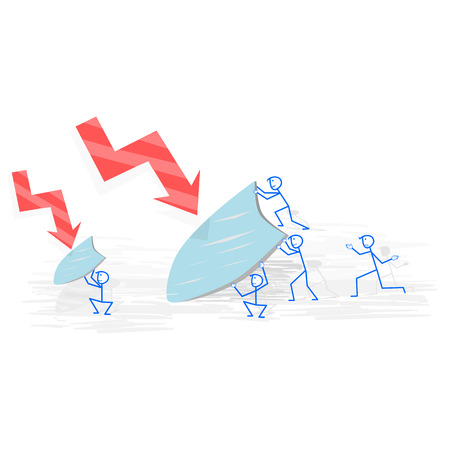 A group of business people try to fight the economic crisis Illustration