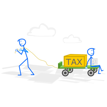 taxpayer: A man with hand truck with taxes. Tax time and taxpayer finance concept Illustration