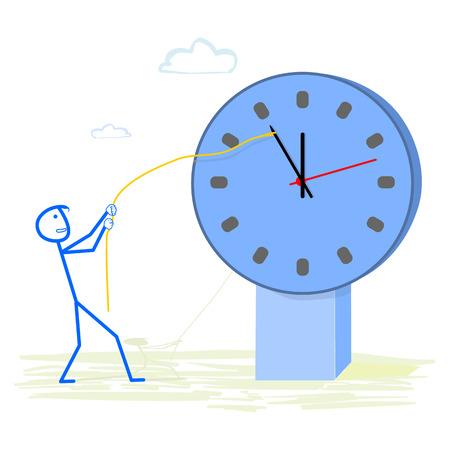 job deadline: Abstract businessman holding back time