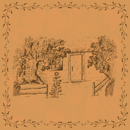 Vintage card template with cottage