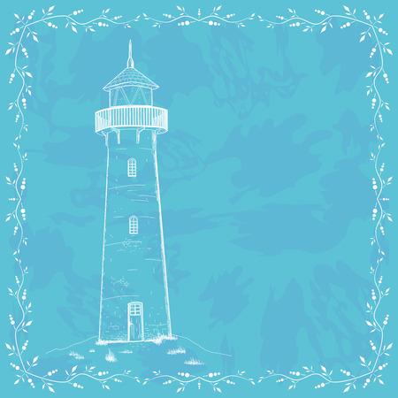 Retro design card with lighthouse Illustration