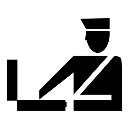 Customs clearance icon. Airport control. Border control Illustration