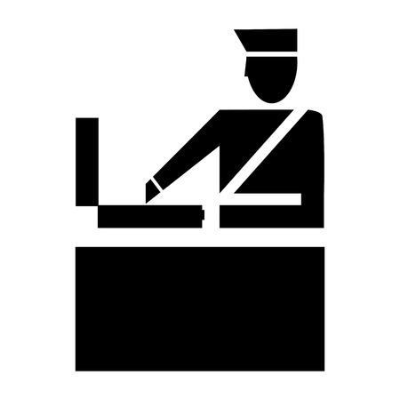 Icono de despacho de aduanas. Control de aeropuerto. Control de fronteras