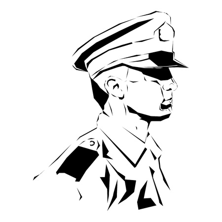 Soldier. Policeman drawing, security