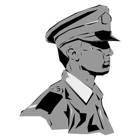 Soldier - vector illustration. Policeman drawing, security Illustration