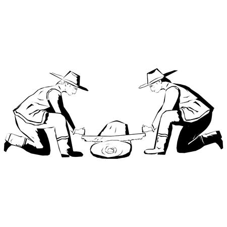 Sawmill. Two men cutting Wood. Zdjęcie Seryjne - 117443310