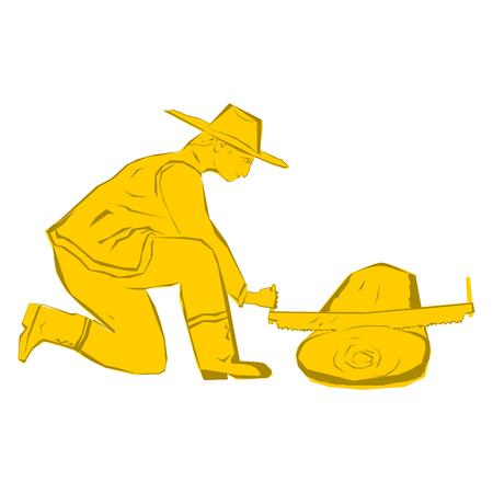 Sawmill. Two men cutting Wood.