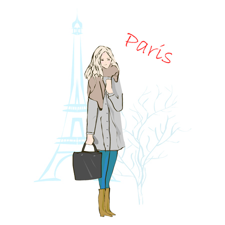 Fashion illustration, winter style vector drawing