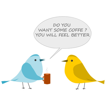 Bird with cup of coffee. Conversation of two birds Ilustracja
