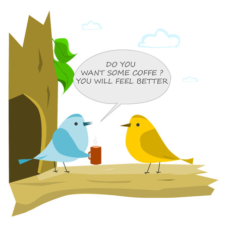 Bird with cup of coffee. Conversation of two birds Illustration