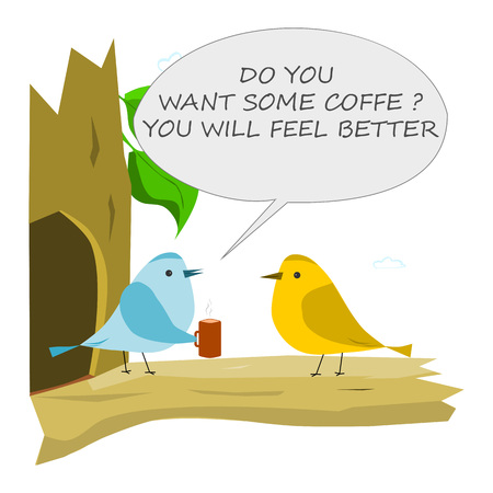 Bird with cup of coffee. Conversation of two birds 向量圖像