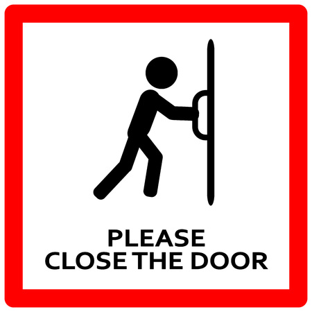 Chiudi il cartello della porta. Tieni questa porta chiusa segno closed Vettoriali