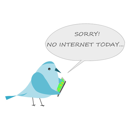 Bird searching a internet. Bird with telephone.