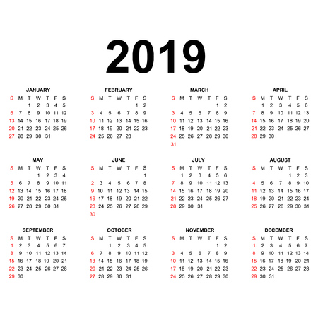 Calendar 2019 template. Calendar design in black and white colors, holidays in red colors. Week starts Sunday. Ilustracja