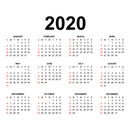 Calendar 2020 template.Holidays in red colors. Week starts sunday. Ilustracja