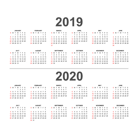 Calendar 2019 and 2020 template. Holidays in red colors.Week starts Sunday.