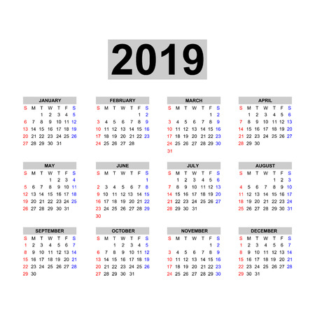 Calendar 2019 template. Calendar design in black and white colors, holidays in red colors. Week starts Sunday. Illustration