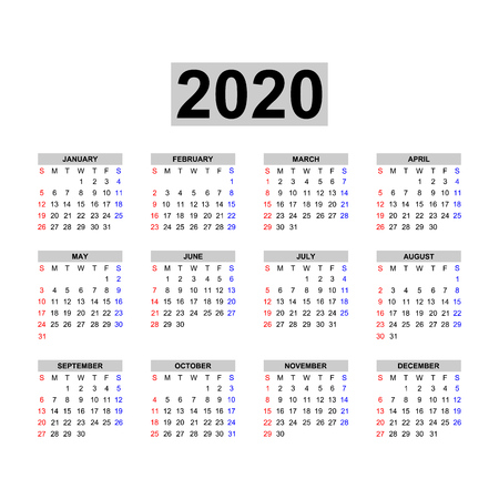 Calendar 2020 template.Holidays in red colors. Week starts sunday. Illustration
