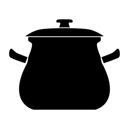 Cooking pot vector icon Illustration