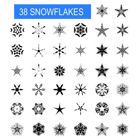 Christmas, winter snowflakes. Vector set. Winter decorative elements Illustration