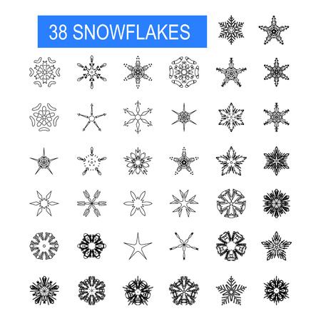 Christmas, winter snowflakes. Vector set. Winter decorative elements Ilustracja