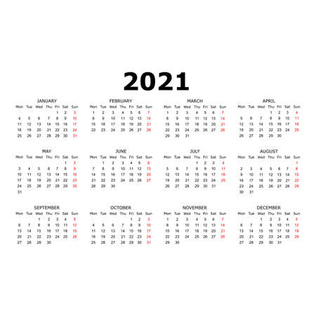 Calendar 2021 year. Simple design. Week starts on Sunday. Red and black colors. Illustration