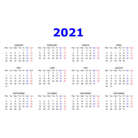 Calendar 2021 year. Simple design. Week starts on Sunday. Red, blue and black colors. Illustration