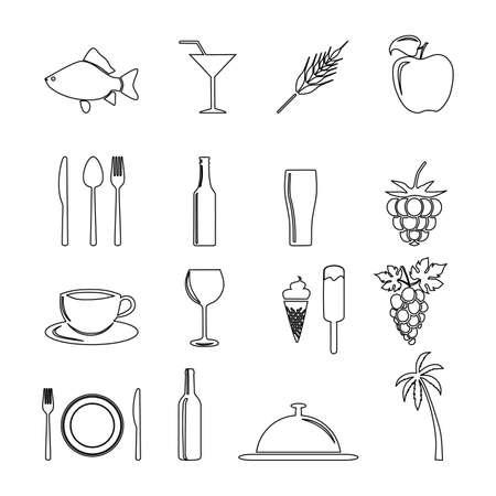 Food, fruit and drinks icon. Restaurant line icons set. Vector illustration. Illustration