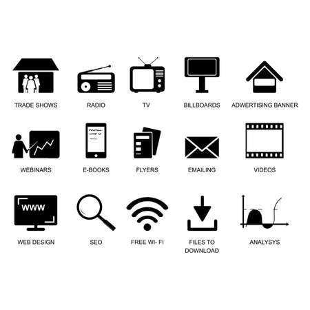 Set of marketing icons, seo, analytics, ads, business, communication