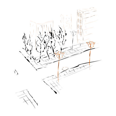 Abstract street panorama. Modern vintage design. Linear sketch on a watercolor textured background. Vector illustration