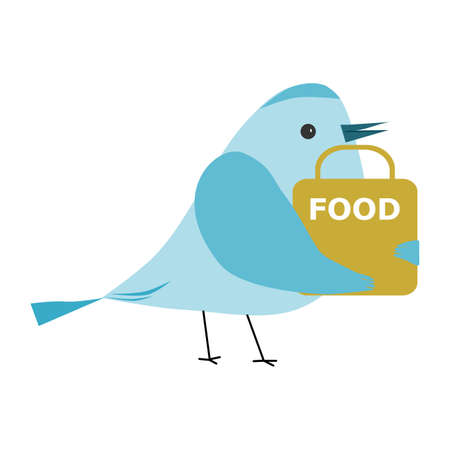 Safe food delivery at home. Bird holding a bag with fast food. Funny birds concept.