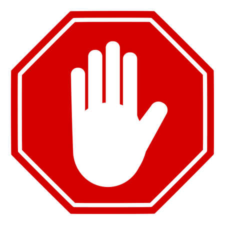 Stop sign with hand icon. Vector Image.