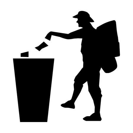 Do not litter symbol. Tourist and refuse bin