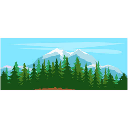 Background scene with many trees in the mountains. Mountain modern illustration