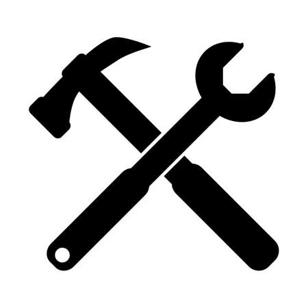 Tool line icon set symbol vector on white background. Hummer icon conception with spanner icon, tools icon. Illustration