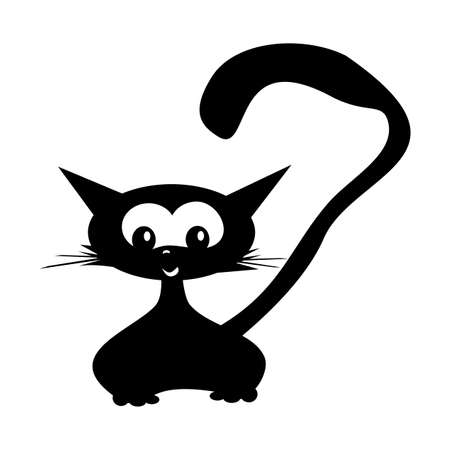 Cartoon black cat drawing. Simple and cute kitten silhouette. Sticker on a car or a refrigerator Illustration