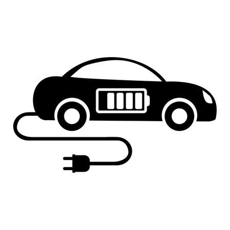 Electric vehicle icon isolated on white background. Electric vehicle charging station road sign
