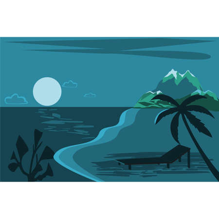 Summer time modern concept design. Creative background of landscape, panorama of sea and beach. Summer sale, post template