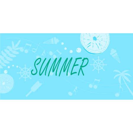 Summer background layout banners design. Horizontal poster, greeting card, header for website Illustration