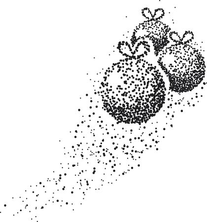 Three Christmas balls formed by a magical trail of flying points