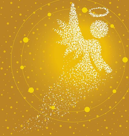 Holy angel formed by a magical trail of flying points on golden background