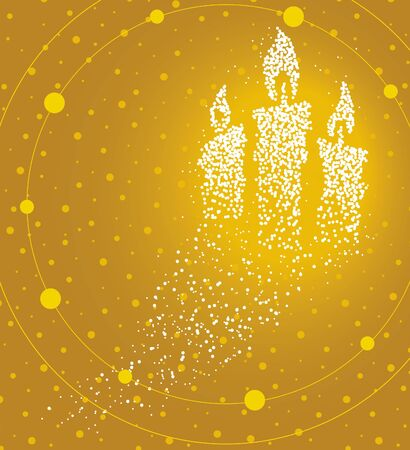 Lighting candles formed by a magical trail of flying points on golden background
