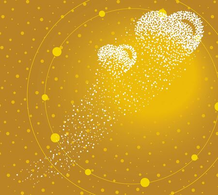 Hearts formed by a magical trail of flying points on golden background
