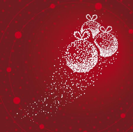 Christmas ball formed by a magical trail of flying points on red background