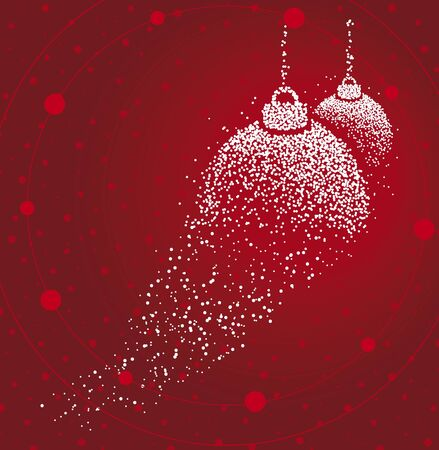 Christmas balls formed by a magical trail of flying points on red background Vectores