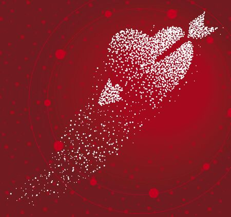 Cupid heart formed by a magical trail of flying points on red background Vectores