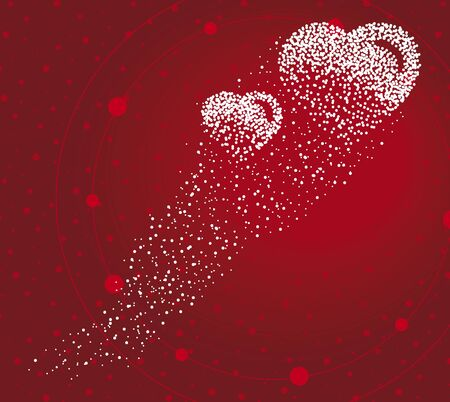 Hearts formed by a magical trail of flying points on red background